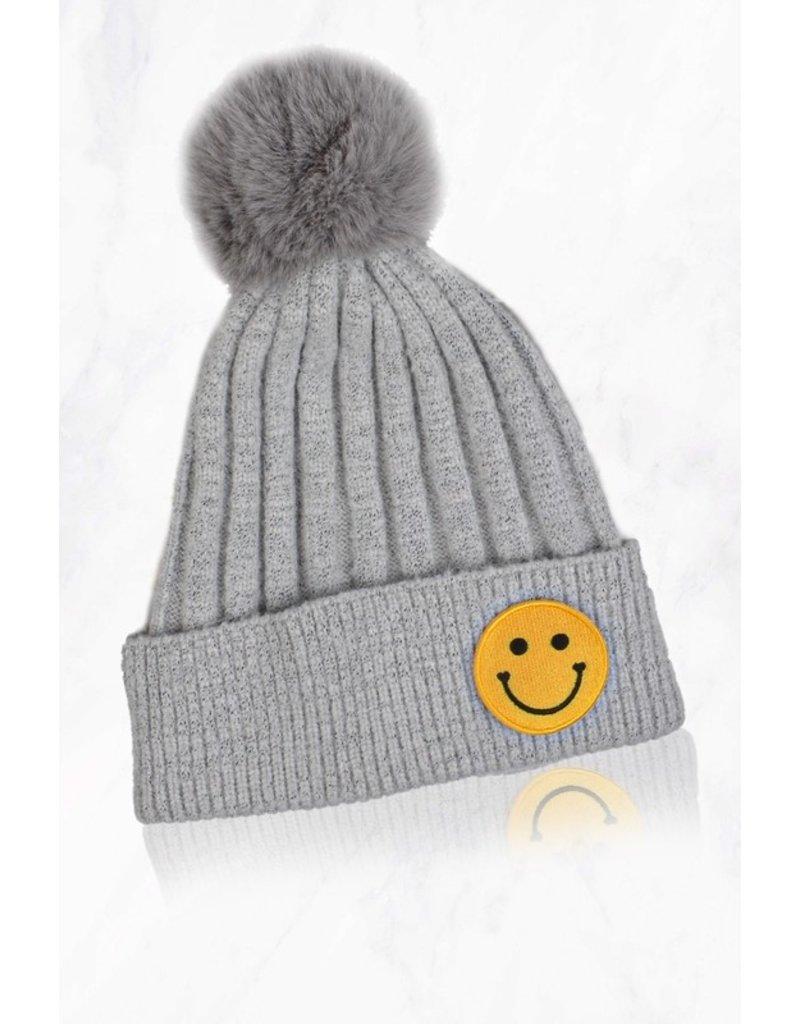 Suzie Q Suzie Q Smiley Face Pom Pom Hat