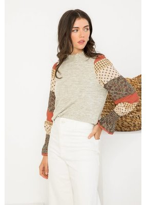 THML Smocked Bell Sleeve Top
