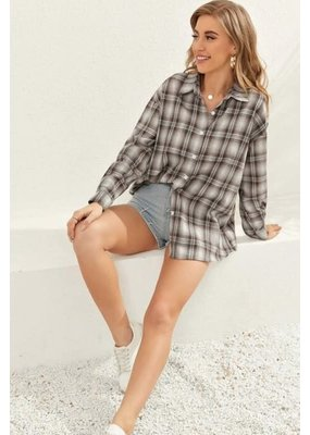 Miss Sparkling Plaid Button Up Flannel