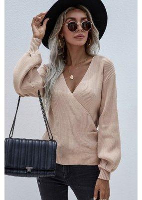 Miss Sparkling V Neck Wrap Sweater