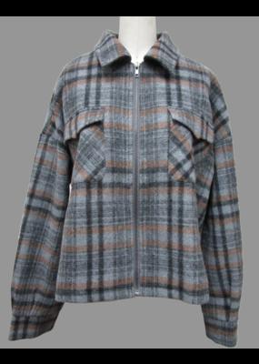 Hem & Thread Plaid Zip Up Crop Oversized Jacket