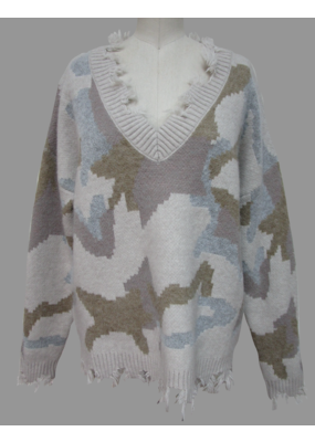 Hem & Thread Distressed Fringe V Neck Boxy Sweater