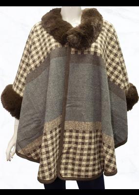 Suzie Q Check Pattern Faux Fur Cape