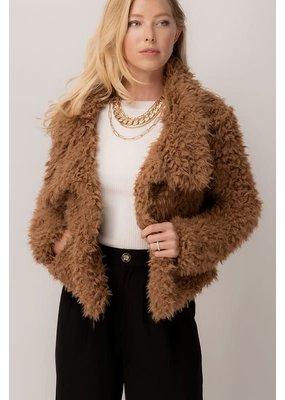Trend Notes Shaggy Faux Fur Open Coat