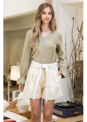 THML V-neck Suede Top
