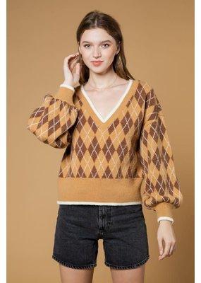 Very J V-neck Argyle Knit Sweater