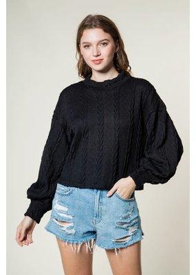 Very J Mock Neck Knit Comfy Top