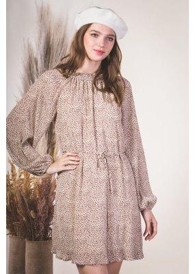 Very J Leopard Print Balloon Sleeve Dress