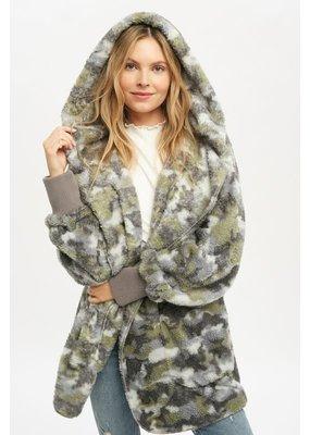 Mystree Soft & Cozy Camo Print Oversized Hoodie Jacket