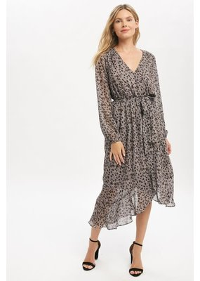 Mystree Leo Print Ruffle Long Dress
