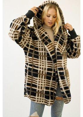 Mystree Soft & Cozy Checkered Print Oversized Hoodie Jacket