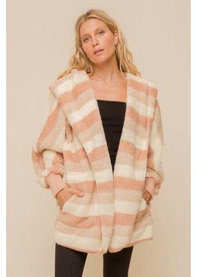 Hem & Thread Soft & Cozy Stripe Oversized Hoodie Jacket