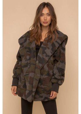 Hem & Thread Soft & Cozy Camo Print Oversized Hoodie Jacket