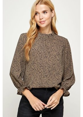 Solution Ruffle Print Round Neck Top