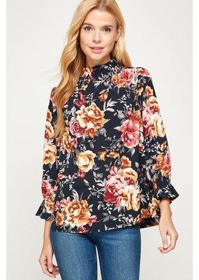 Fashion District LA Ruffle Floral Top