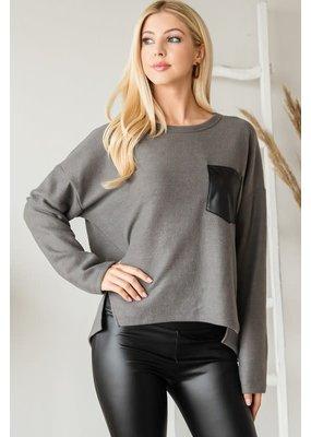 Fashion District LA Pocket Detail Knit Top