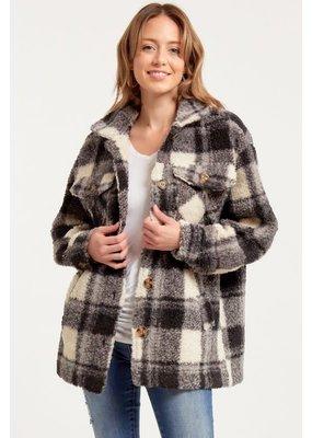 Fashion District LA Plaid Teddy Sherpa Jacket