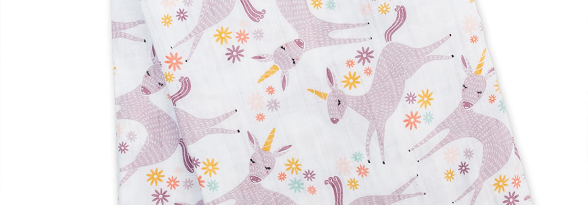 Mousseline en coton moderne - Licornes