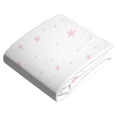 Drap pour poussette ou panier en flanelle - Étoiles roses-1