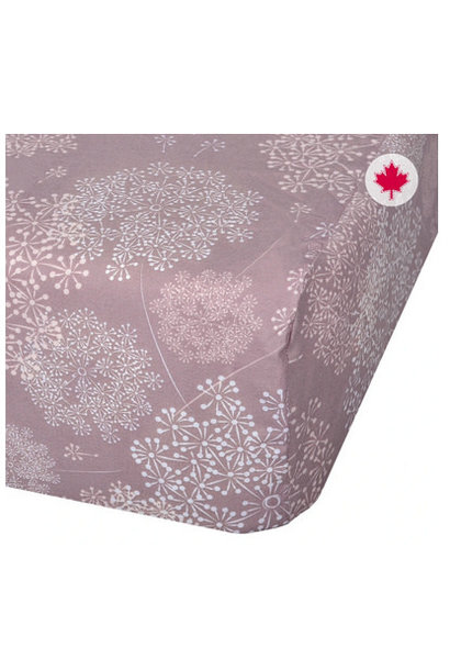 Drap contour coton - Pissenlits prune