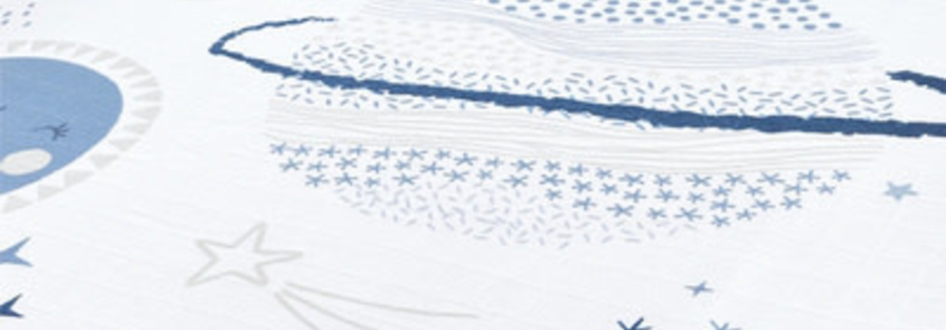 Drap contour en mousseline - Planètes bleues