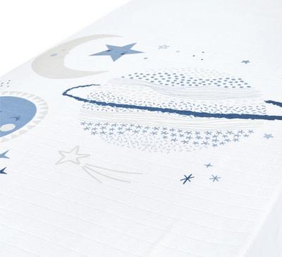 Drap contour en mousseline - Planètes bleues-1