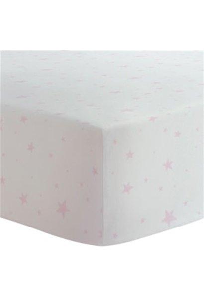 Drap contour coton flanelle - Étoiles rose