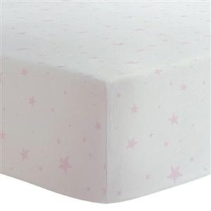 Drap contour coton flanelle - Étoiles rose-1
