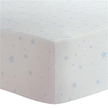 Drap contour coton flanelle - Étoiles bleu-1
