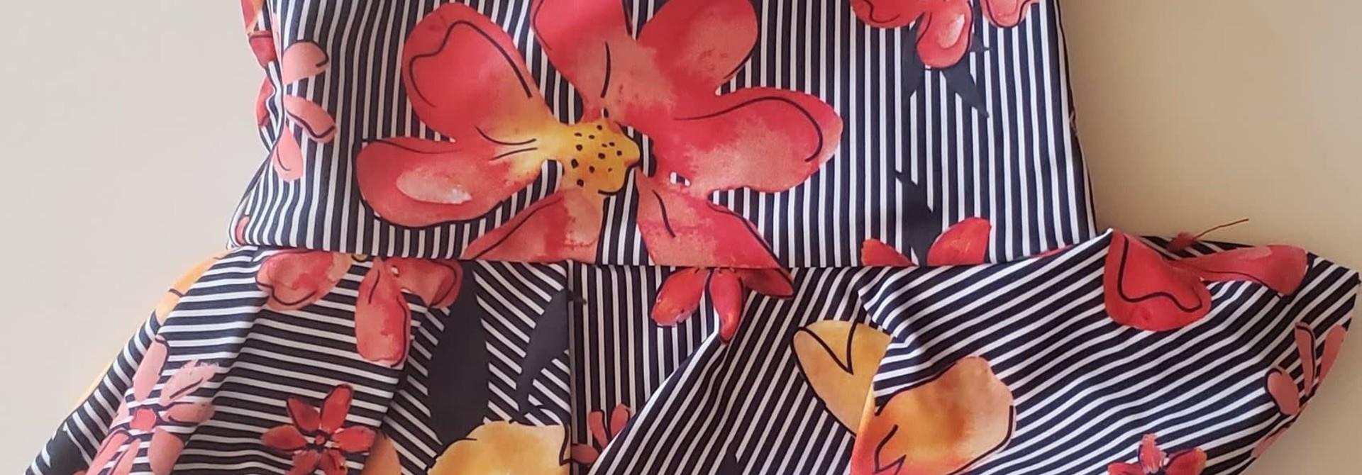 Maillot 1 pièce - Rayures fleuries