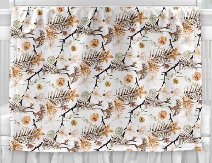 Couverture en Minky - Fleurs séches-1