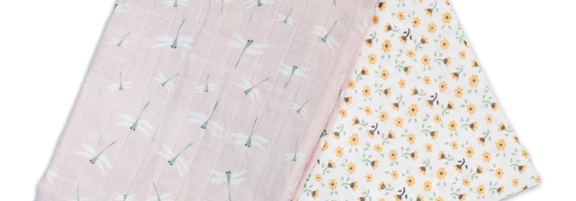 Mousseline de coton(2) - Fleurs/Libellules