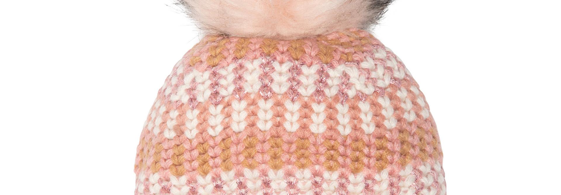 Tuque en tricot pompon Rose