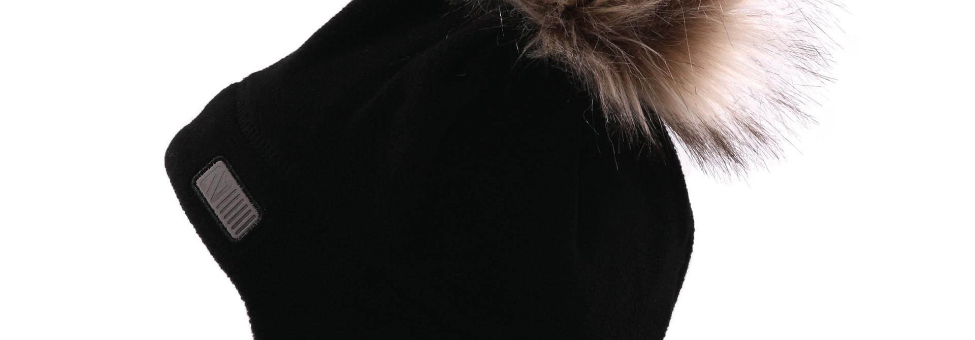 Tuque Pompon bébé en polar avec oreilles Noire