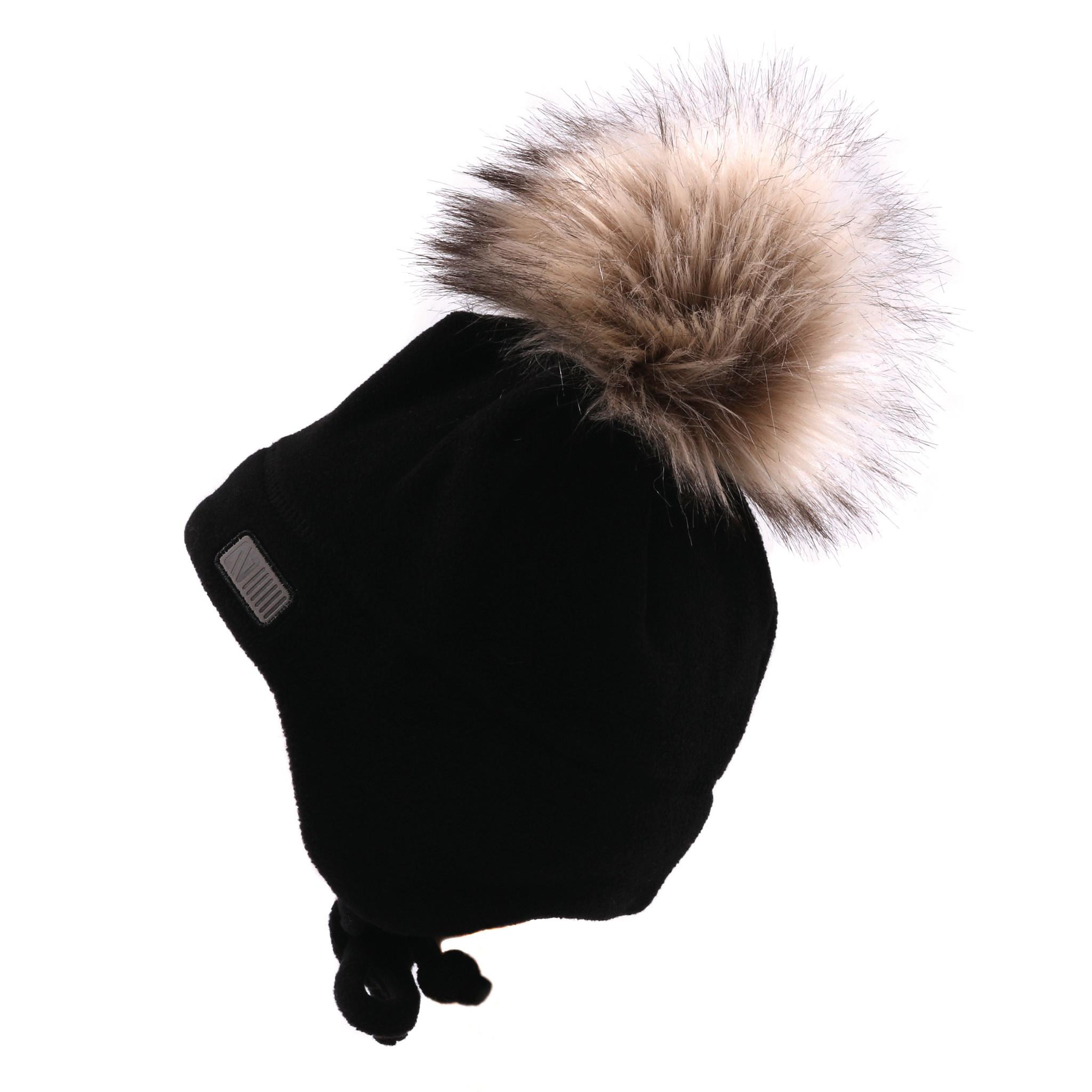 Tuque Pompon bébé en polar avec oreilles Noire-1