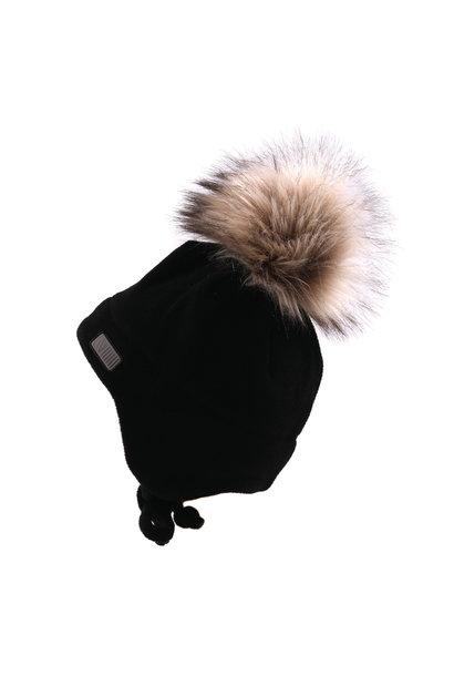 Tuque en polar avec oreilles Noire