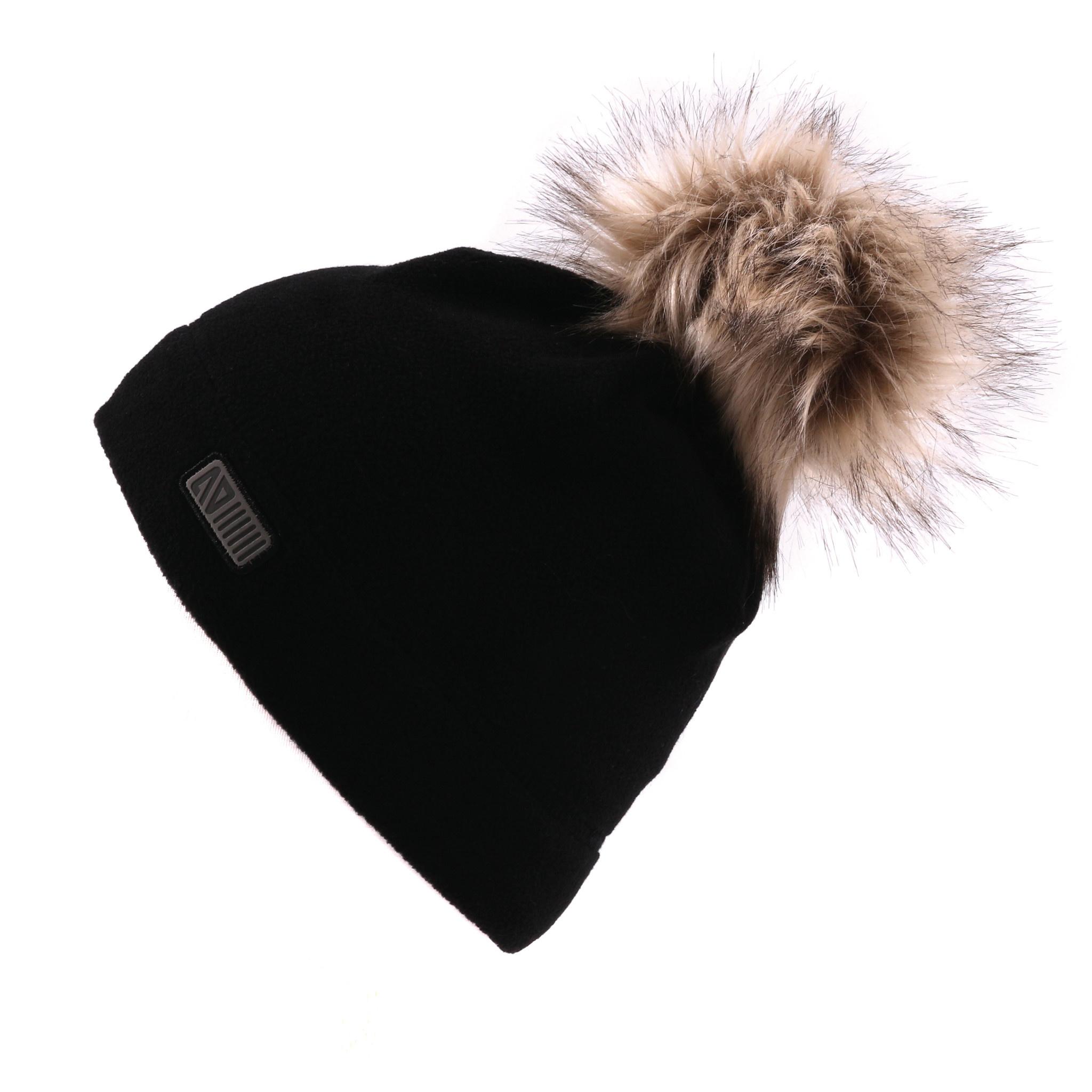 Tuque en polar sans oreilles Noire-1