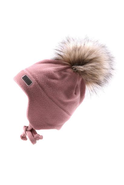 Tuque Pompon bébé en polar avec oreilles Rose