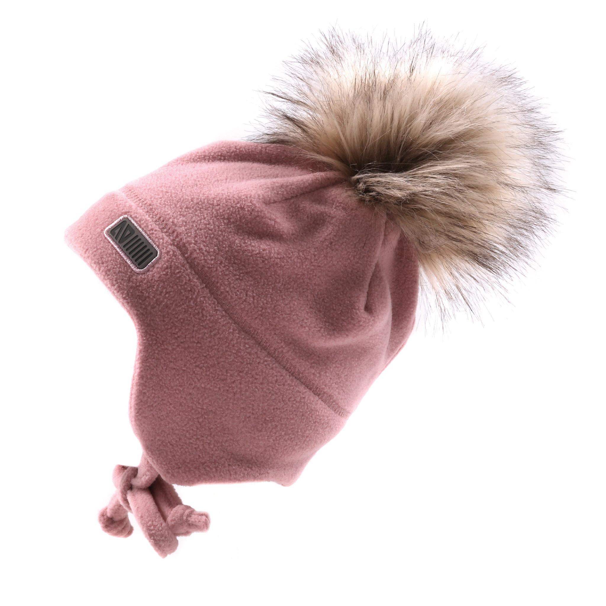 Tuque Pompon bébé en polar avec oreilles Rose-1