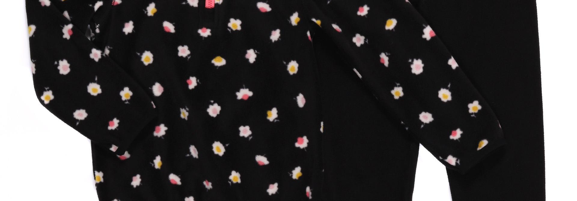 Sous-vêtement en micropolar Noir Fleurs