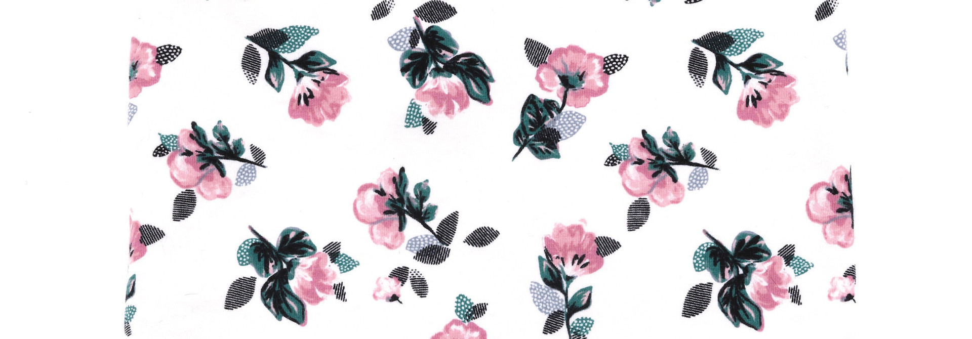 Cache-cou en jersey Ivoire Fleurs