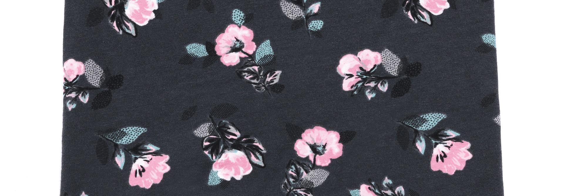 Cache-cou en jersey Charcoal Fleurs