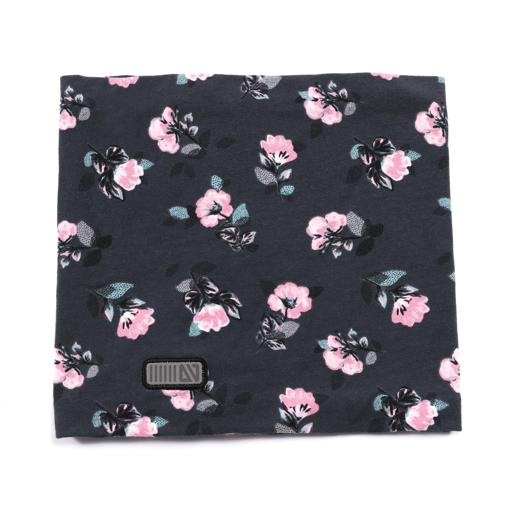 Cache-cou en jersey Charcoal Fleurs-1