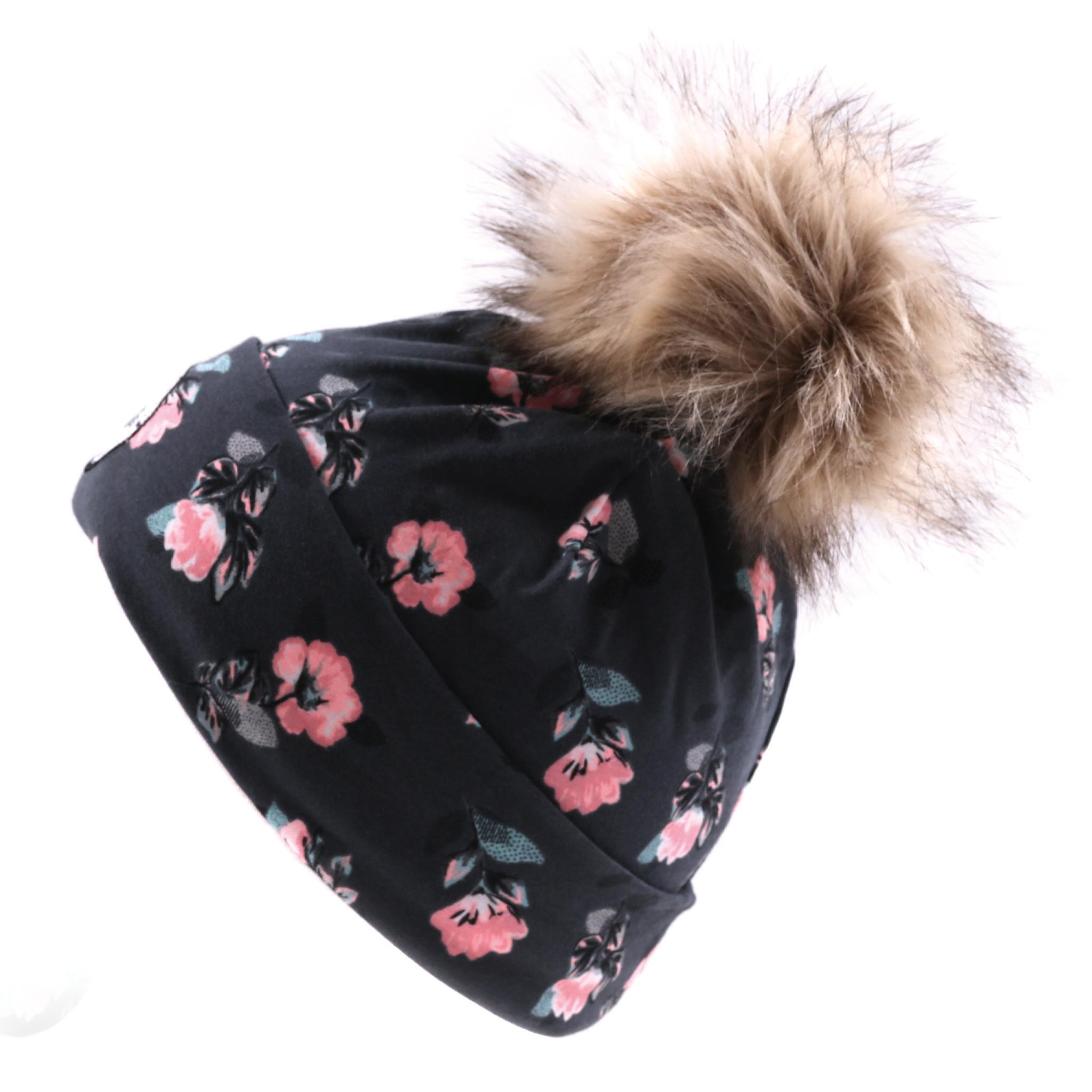 Tuque en jersey Charcoal Fleurs-3