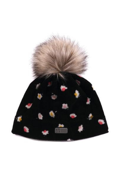 Tuque en polar avec oreilles Noire Fleurs