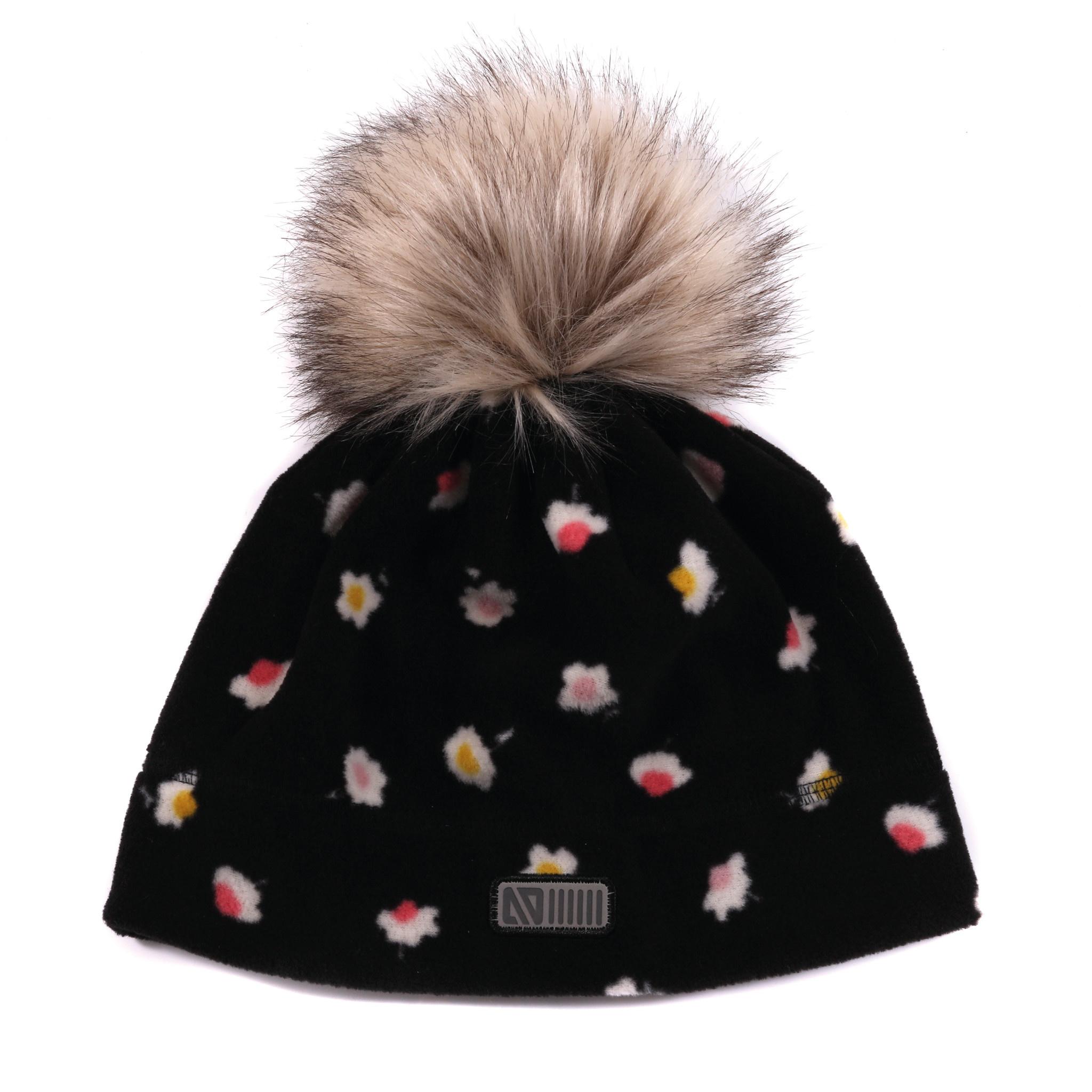 Tuque en polar avec oreilles Noire Fleurs-1