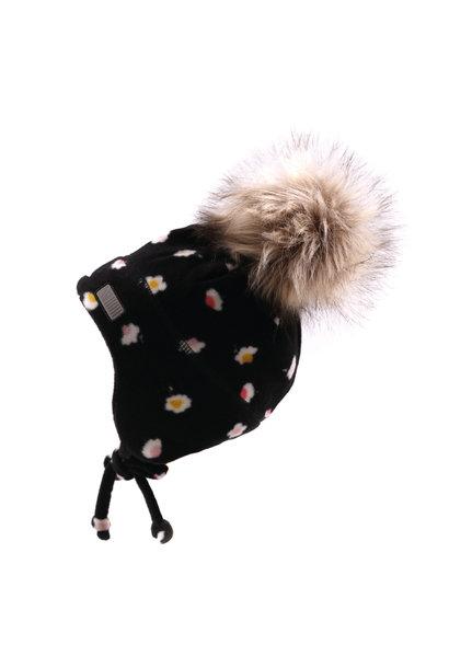 Tuque bébé en polar avec oreilles Noire fleurs