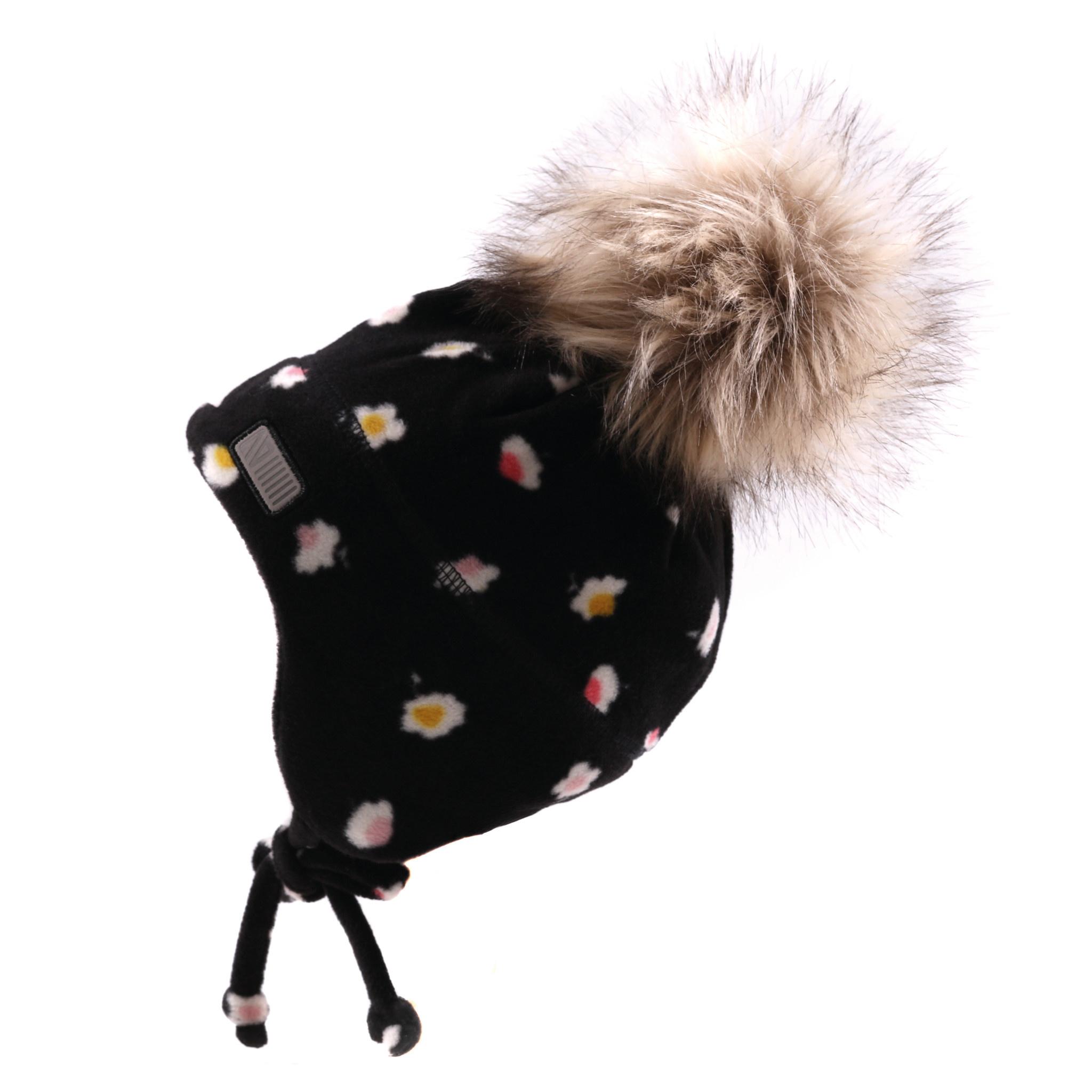 Tuque bébé en polar avec oreilles Noire fleurs-1