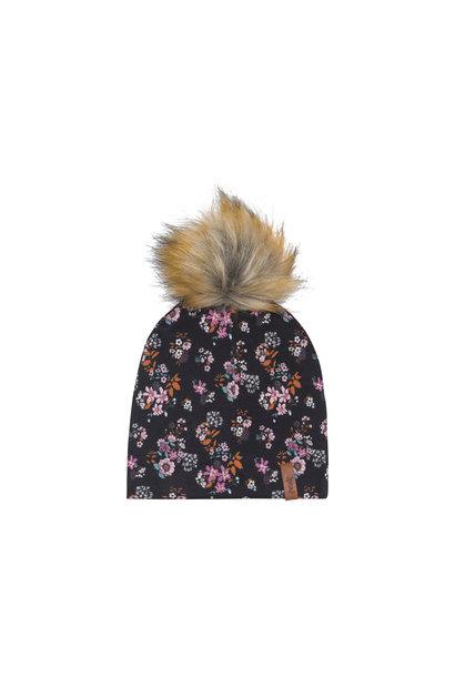 Bonnet à pompon amovible Noir