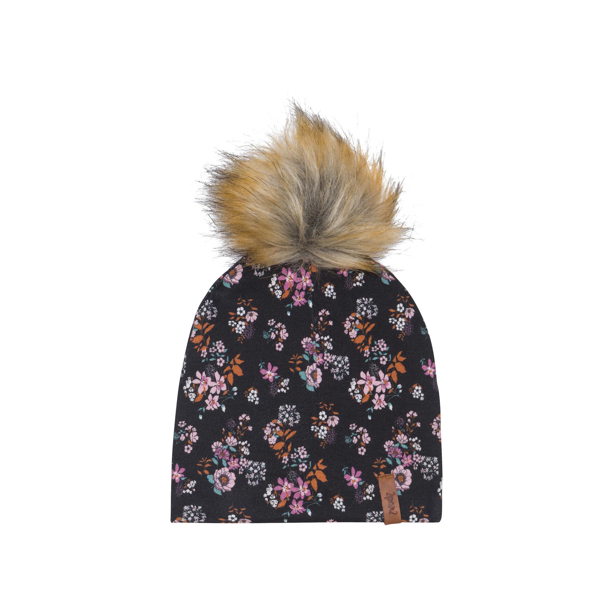 Bonnet à pompon amovible Noir-1